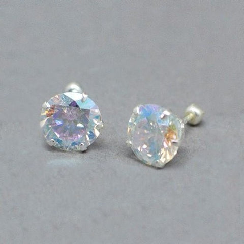 Round CZ Screw Back Stud Earrings 8mm