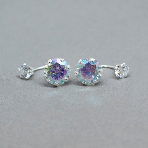 CZ Telephone Stud Earrings 9mm
