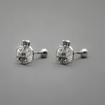 14mm Diamond Ladybug Stud Earrings Screw Back