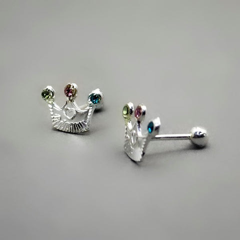 Diamond Crown Stud Earrings- Screw Back