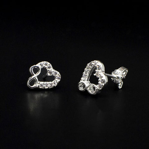 CZ Infinity Heart Stud Earrings 8mm