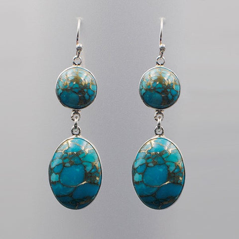 Oval Turquoise Hook Earrings 2.6""