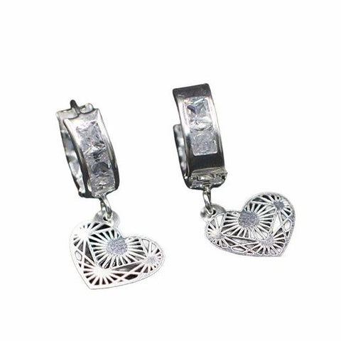 CZ Huggie Hoop Earrings- Heart Pendant 25mm