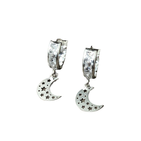 CZ Huggie Hoop Earrings- Moon Pendant 25mm