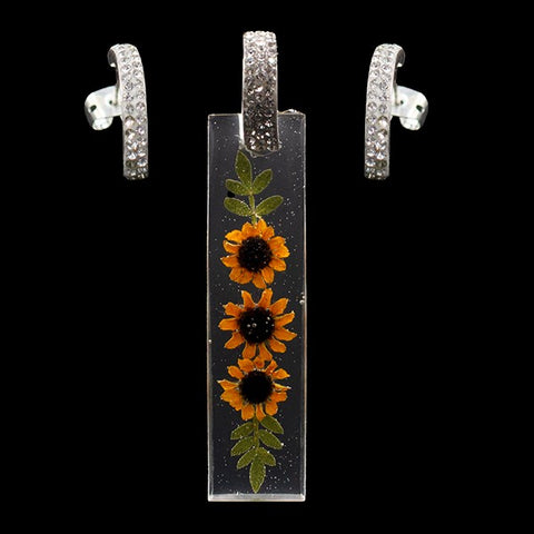 Dried Natural Sunflowers Rectangle Set