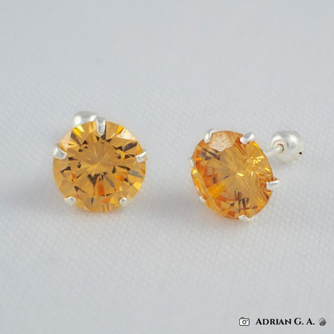 Round CZ Stud Earrings- Screw Back