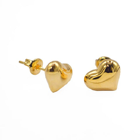 Golden Heart Stud Earrings 8mm
