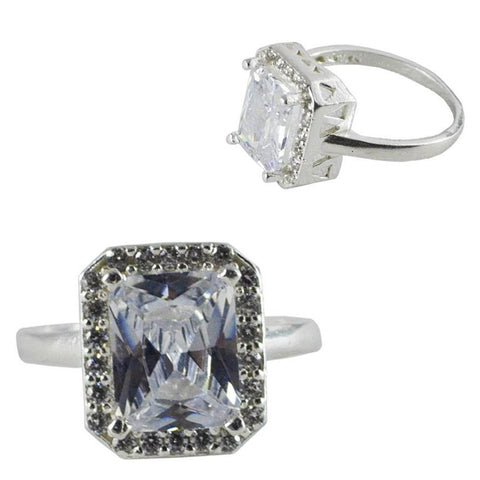 CZ Rectangle Shape Ring #8