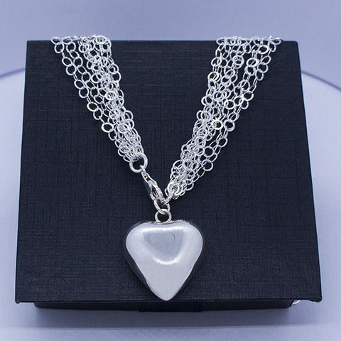 Eight Chain Necklace - Inflated Heart 18.5""