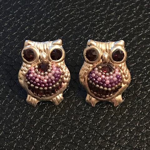 Crystal Owl Stud Earrings 17mm