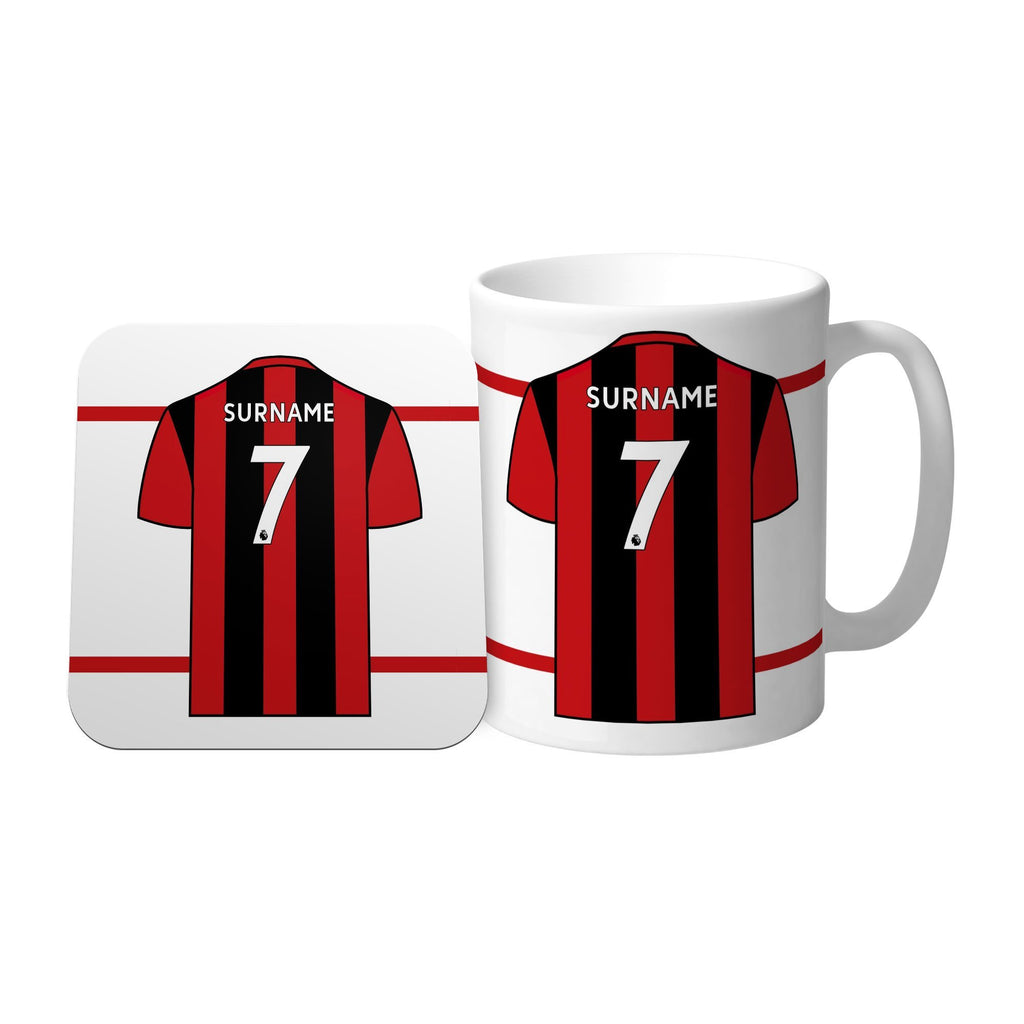 AFC Bournemouth Shirt Mug & Coaster Set - Official Merchandise Gifts