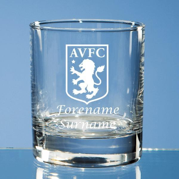 Aston Villa FC Crest Bar Line Old Fashioned Whisky Tumbler - Official Merchandise Gifts
