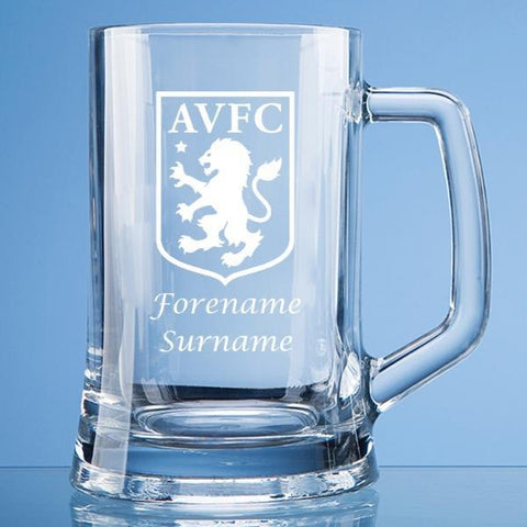Aston Villa FC Crest Large Plain Straight Sided Tankard - Official Merchandise Gifts