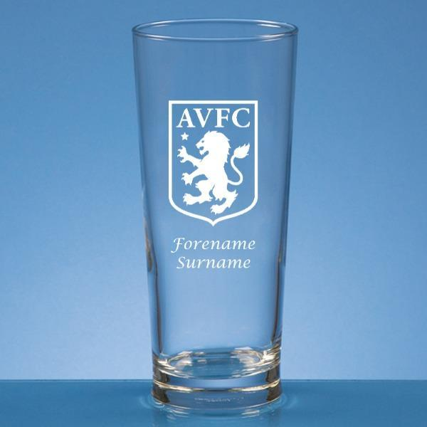 Aston Villa FC Crest Straight Sided Beer Glass - Official Merchandise Gifts
