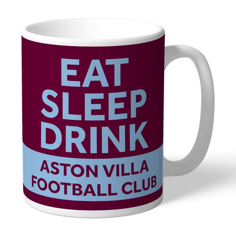 Aston Villa FC Eat Sleep Drink Mug - Official Merchandise Gifts
