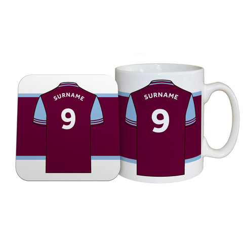 Aston Villa FC Shirt Mug & Coaster Set - Official Merchandise Gifts