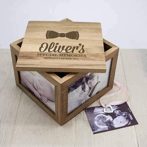 Baby Boy's Special Memories Oak Photo Keepsake Box - Official Merchandise Gifts