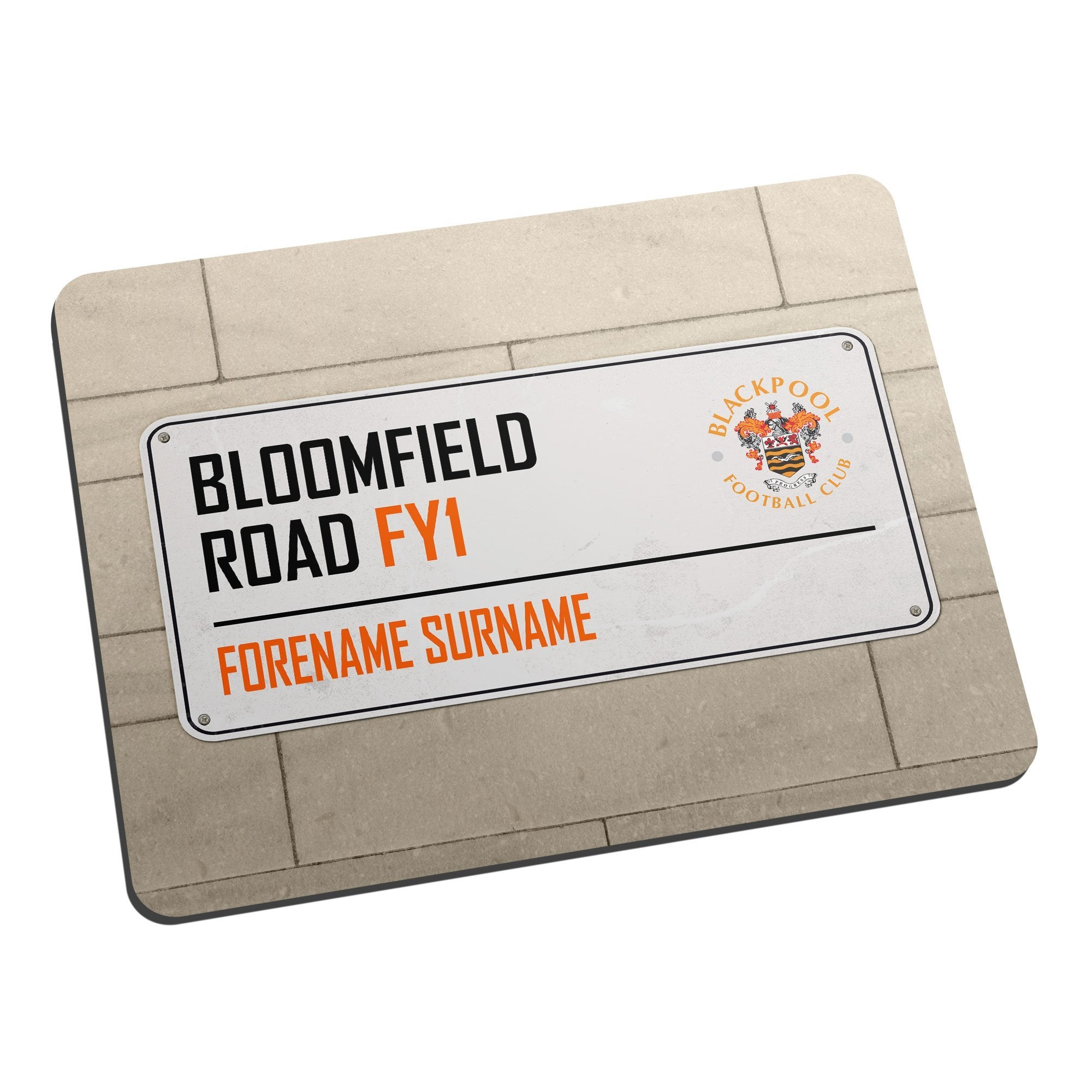 Personalised Blackpool FC Street Sign Mouse Mat, Electronics by Glamorous Gifts