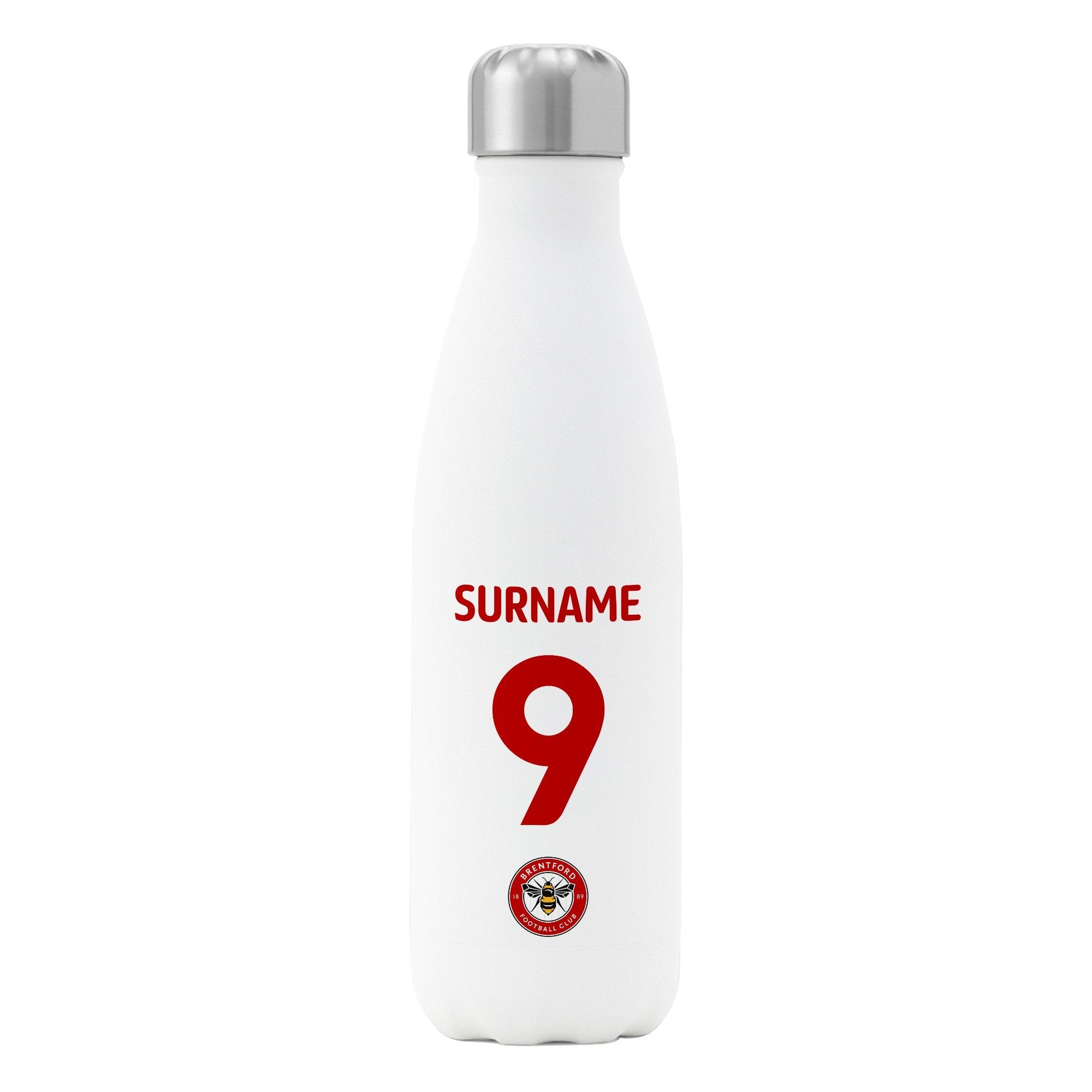 White Official Personalised Brentford FC Back of Shirt Insulated Water Bottle