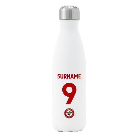Brentford FC Back of Shirt Insulated Water Bottle - White - Official Merchandise Gifts