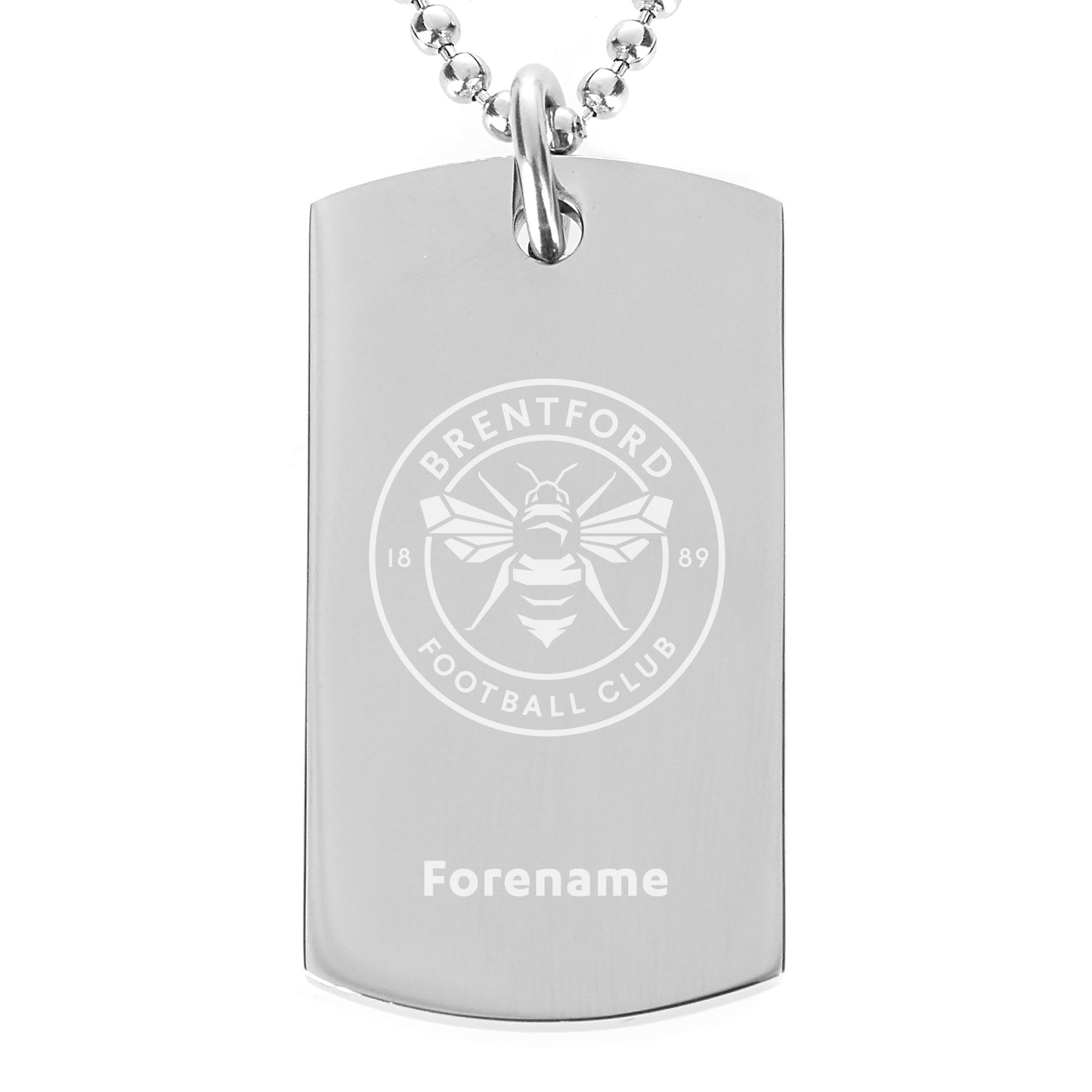 Personalised Brentford FC Crest Dog Tag Pendant, Clothing & Accessories by Glamorous Gifts