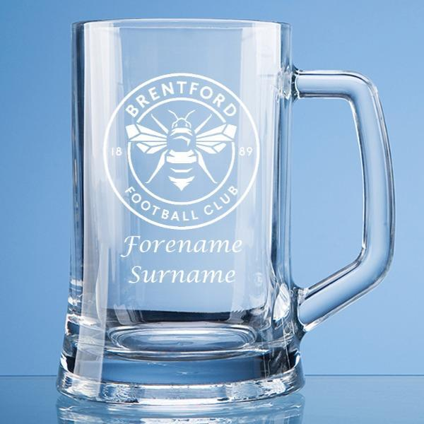 Brentford FC Crest Large Plain Straight Sided Tankard - Official Merchandise Gifts