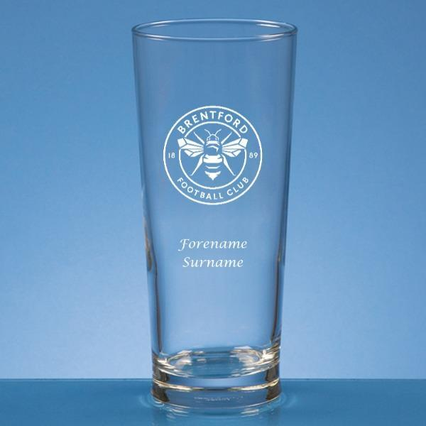 Brentford FC Crest Straight Sided Beer Glass - Official Merchandise Gifts