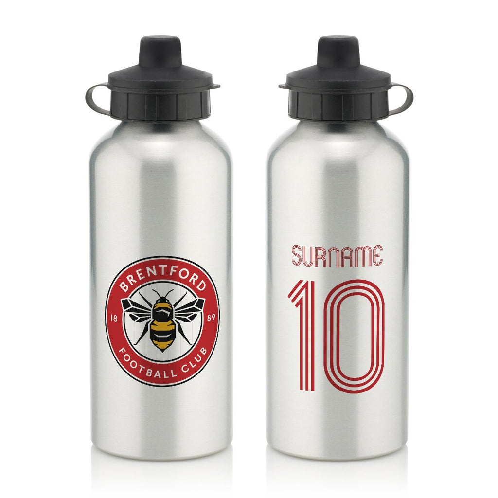 Brentford Retro Shirt Water Bottle - Official Merchandise Gifts