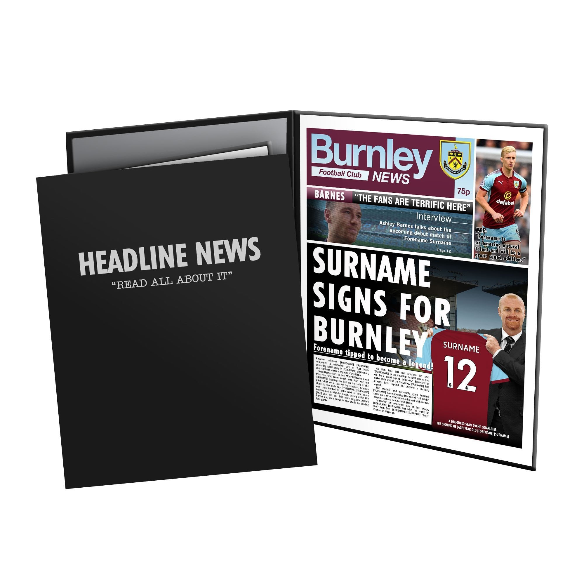 Personalised Burnley FC News Page In Presentation Folder, Football Fan Accessories by Glamorous Gifts