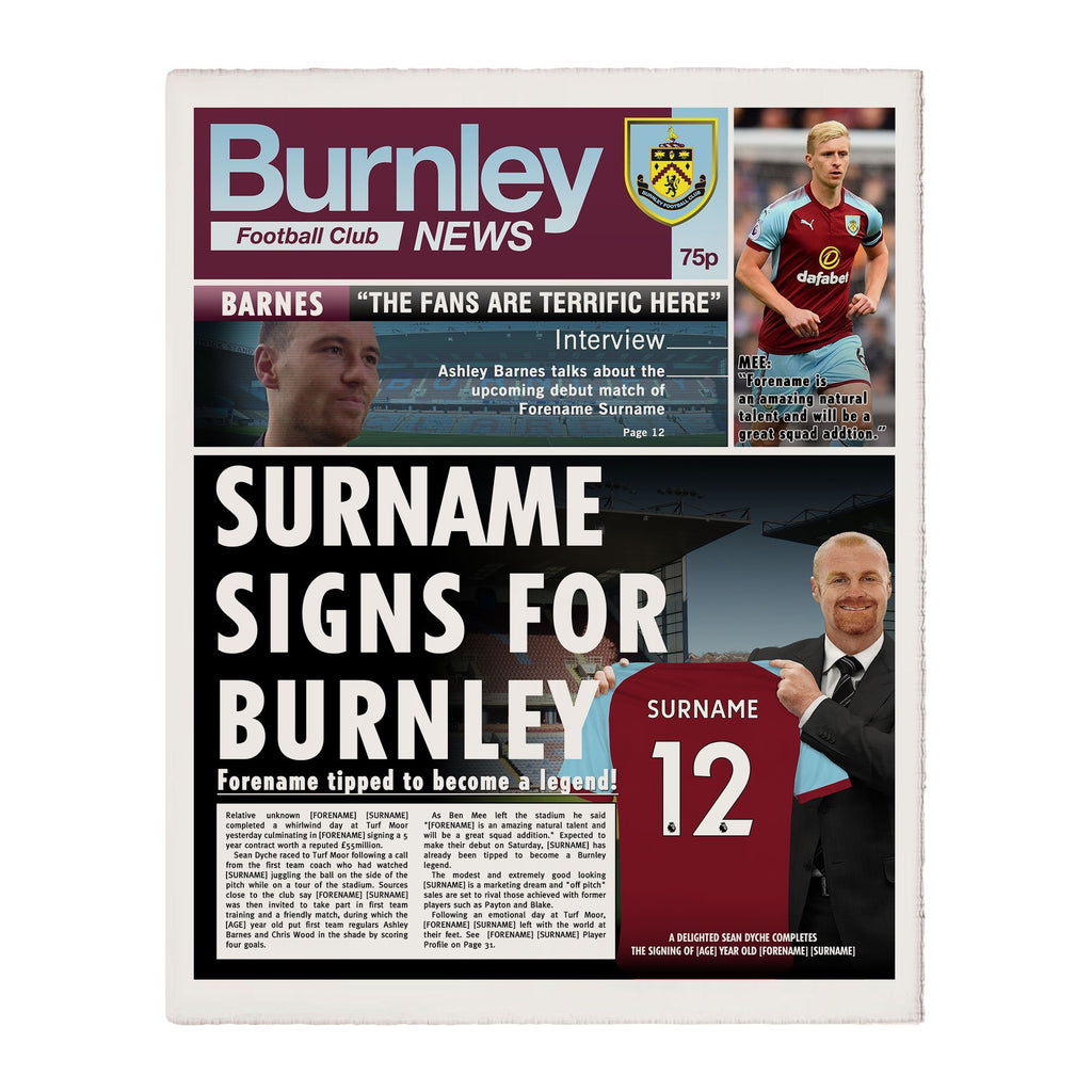Burnley FC News Page Print - Official Merchandise Gifts