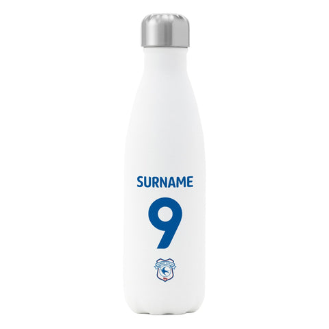Cardiff City FC Back of Shirt Insulated Water Bottle - White - Official Merchandise Gifts