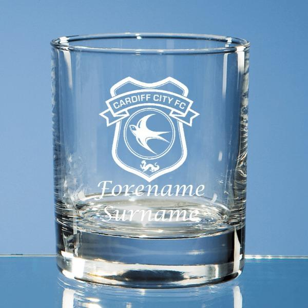 Cardiff City FC Crest Bar Line Old Fashioned Whisky Tumbler - Official Merchandise Gifts