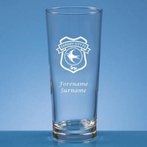 Cardiff City FC Crest Straight Sided Beer Glass - Official Merchandise Gifts