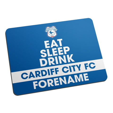 Cardiff City FC Eat Sleep Drink Mouse Mat - Official Merchandise Gifts
