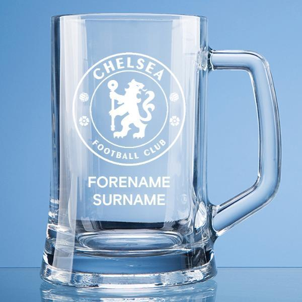 Chelsea FC Personalised Crest Large Straight Sided Tankard - Official Merchandise Gifts