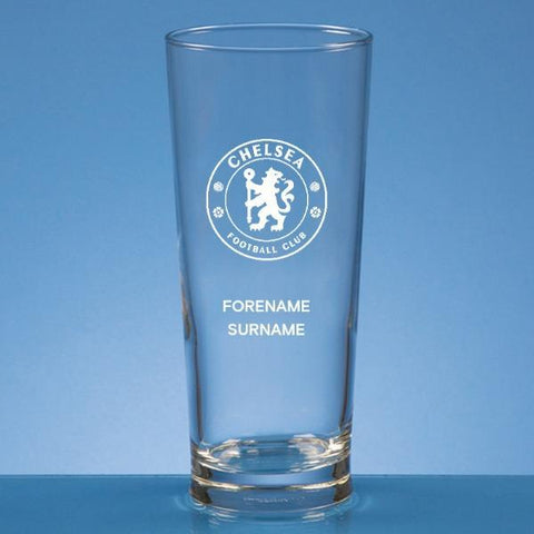 Chelsea FC Personalised Crest Straight Sided Beer Glass - Official Merchandise Gifts