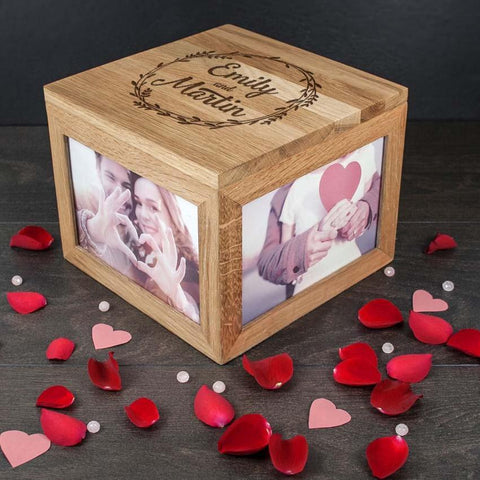 Couple's Oak Photo Keepsake Memory Box With Wreath Design - Official Merchandise Gifts