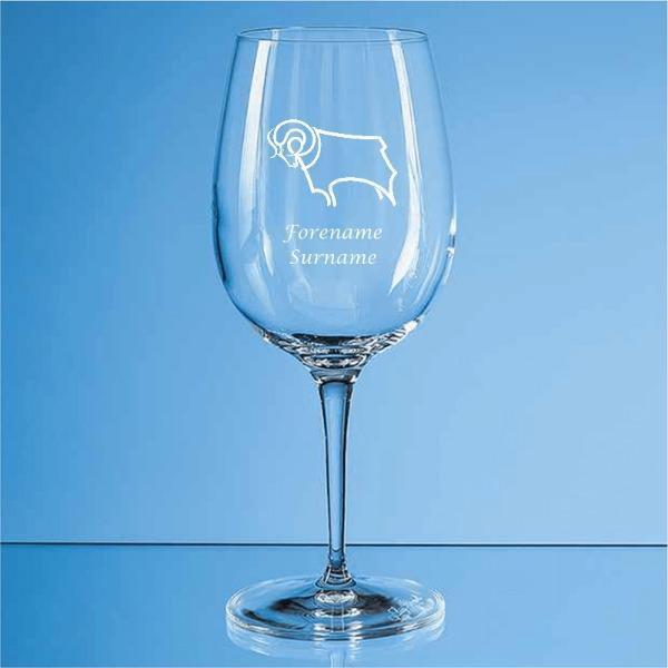 Derby County Crest Allegro Wine Glass - Official Merchandise Gifts