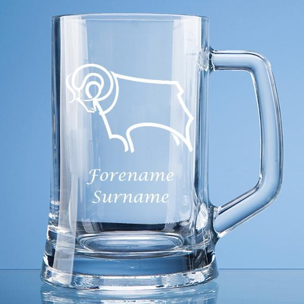 Derby County Crest Large Plain Straight Sided Tankard - Official Merchandise Gifts