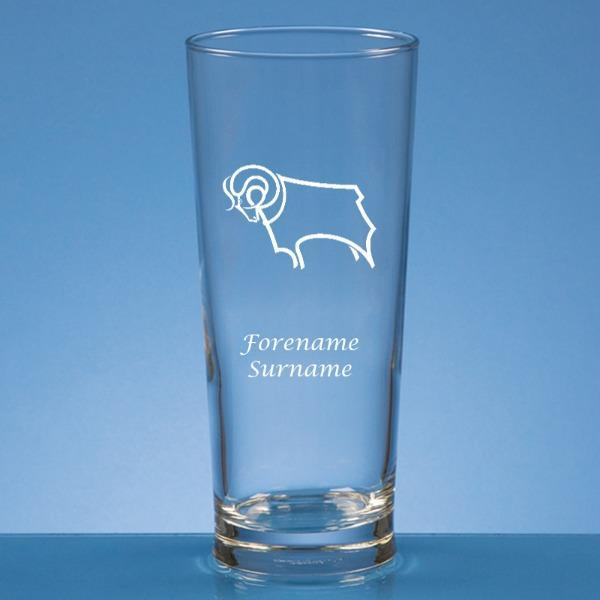 Derby County Crest Straight Sided Beer Glass - Official Merchandise Gifts