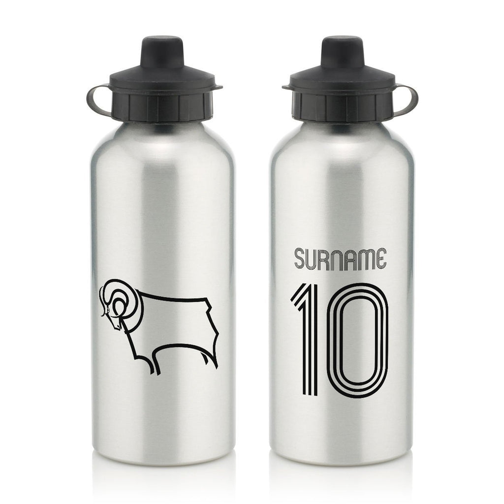 Derby County Retro Shirt Water Bottle - Official Merchandise Gifts