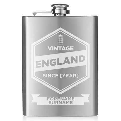 England Cricket Vintage Hip Flask - Official Merchandise Gifts