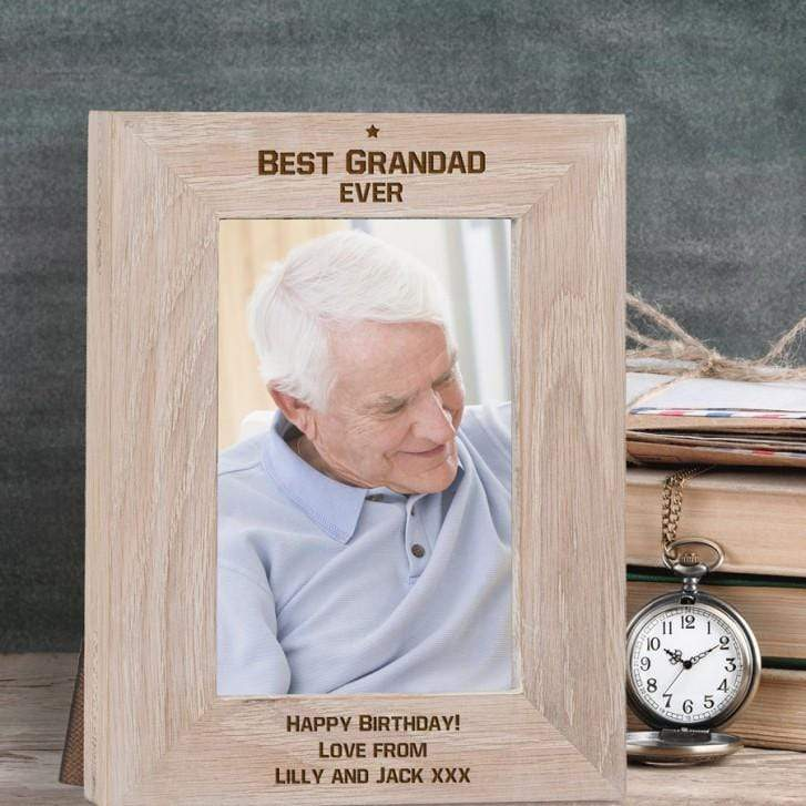 Engraved Best Grandad Ever Solid Oak Photo Frame - Official Merchandise Gifts