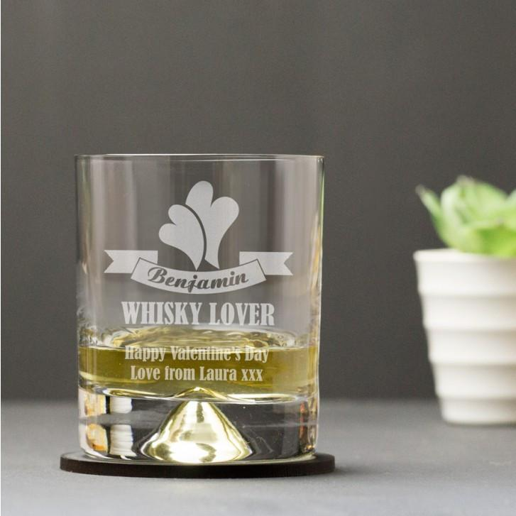 Engraved Dimple Base Tumbler Glass - Lover - Official Merchandise Gifts