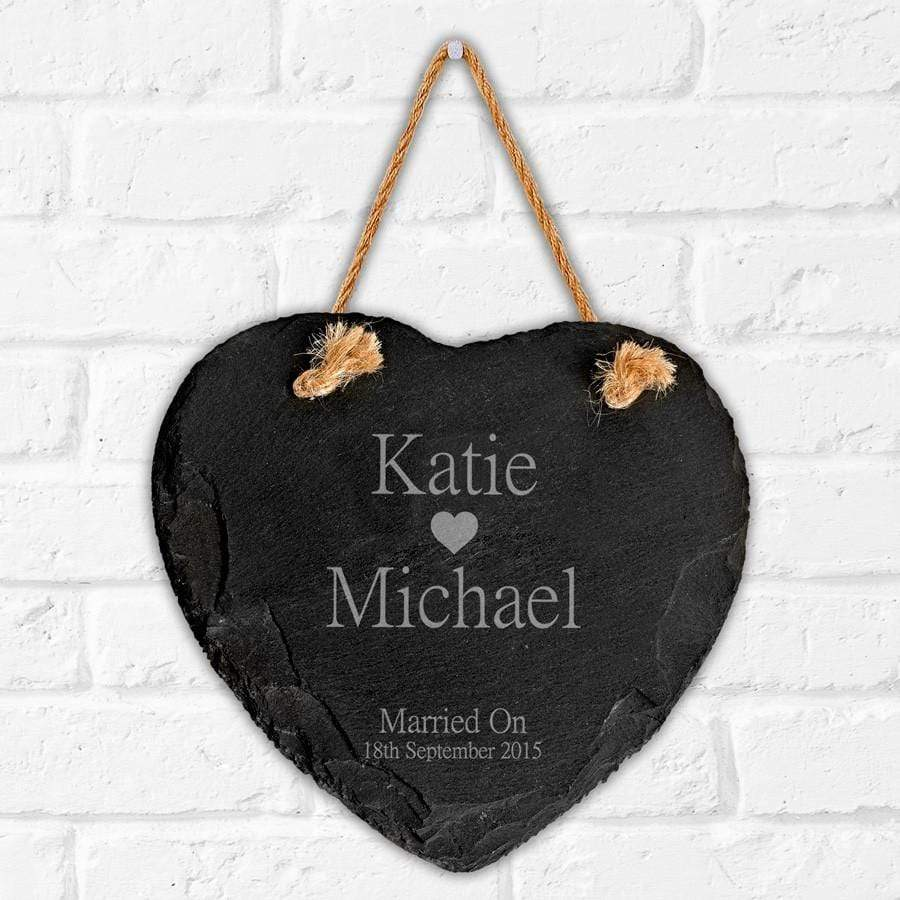 Engraved Large Heart Motif Slate Sign - Official Merchandise Gifts