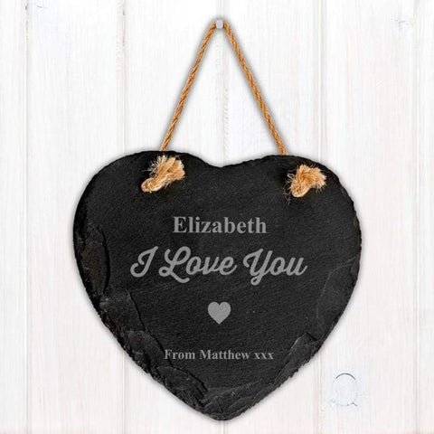 Engraved Love Heart Motif Slate Sign - Official Merchandise Gifts