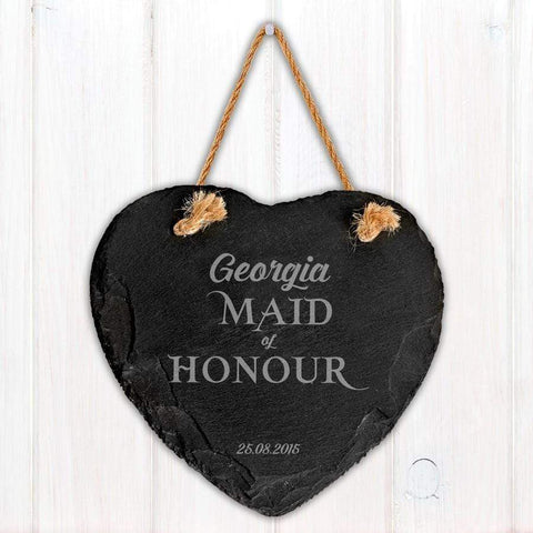 Engraved Maid of Honour Slate Heart Decoration - Official Merchandise Gifts