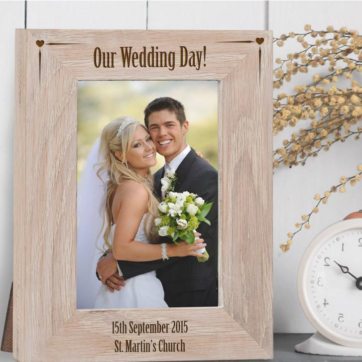 Engraved Our Wedding Day Solid Oak Photo Frame - Official Merchandise Gifts