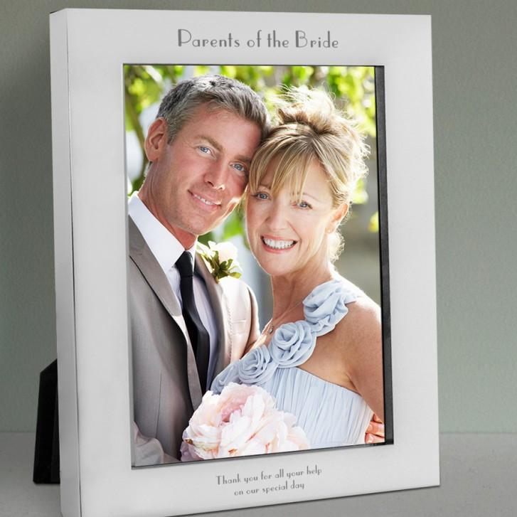 Engraved Parents of the Bride Silver Photo Frame - Official Merchandise Gifts