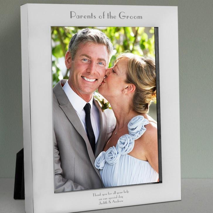 Engraved Parents of the Groom Silver Photo Frame - Official Merchandise Gifts